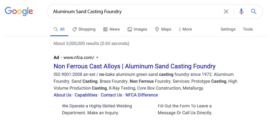 Non-Ferrous Google ad